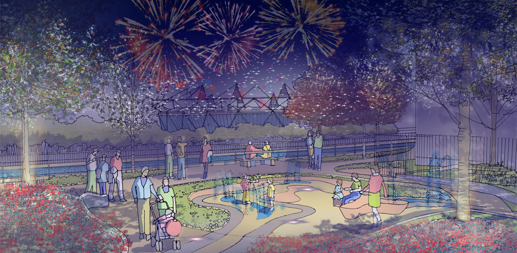 Celebrating the interface of public realm and shared communal space alongside the Olympic Park